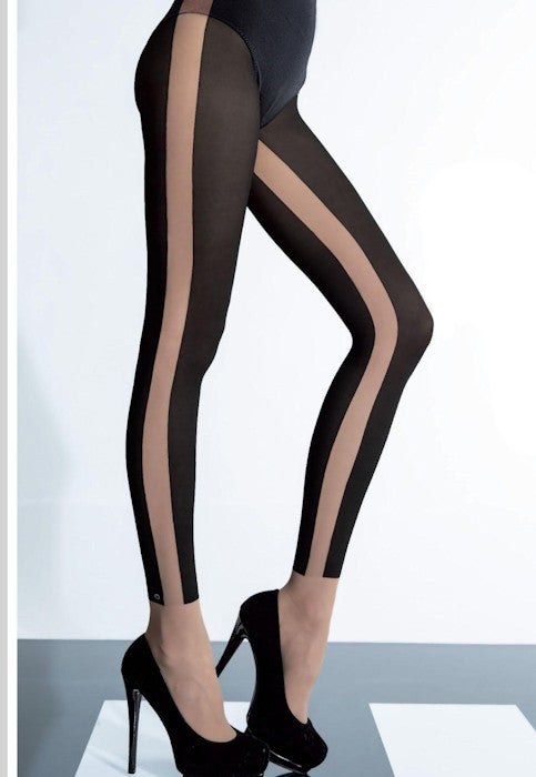 Melinda Nude Side Stripe Black Opaque Tights by Fiore