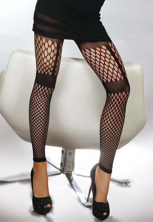 Merve Whale Fishnet Leggings with Panels by LivCo