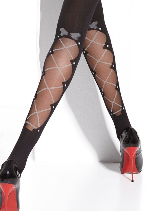 Mia Lace-Up & Bows Opaque Patterned Tights by Adrian