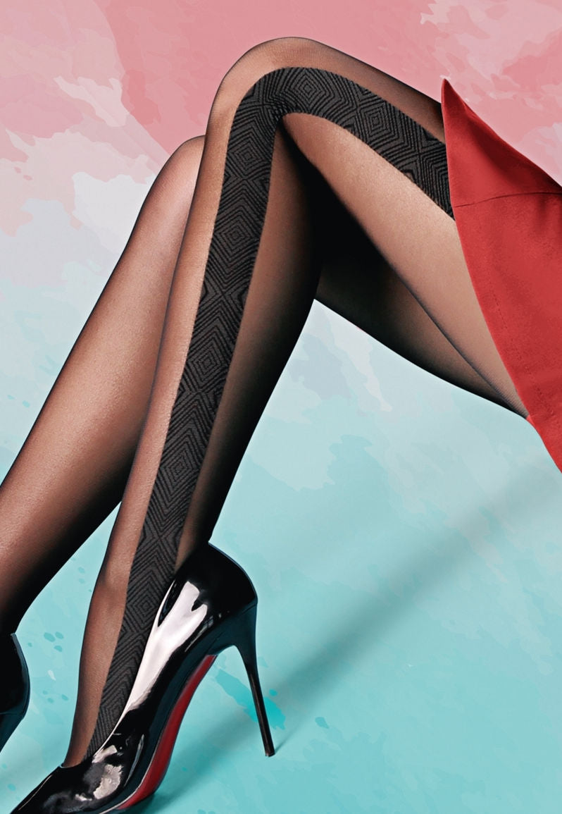 Milena 02 Side Stripe Patterned Sheer Tights by Giulia in black grey