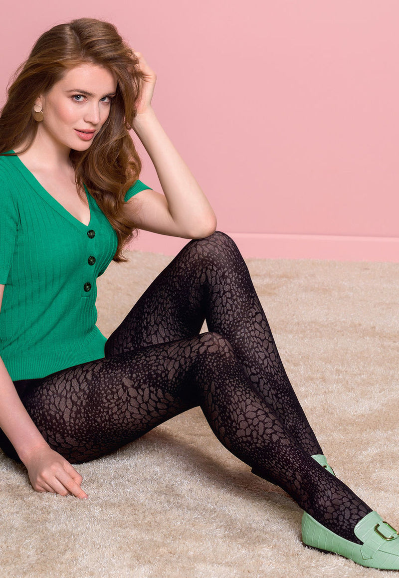 Misha Animal Patterned Lace Tights by Gabriella in black