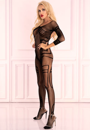 Monata Graphic Patterned Fishnet Bodystocking by LivCo in black