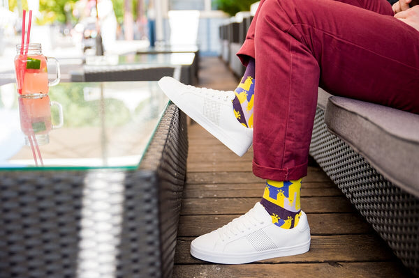 Peacock Patterned Socks in Yellow & Purple by More