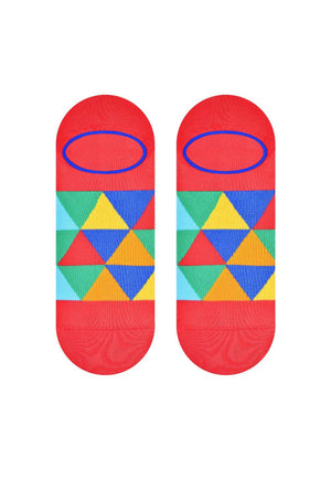 Mosaic Triangles Patterned Liner Socks in Red by More