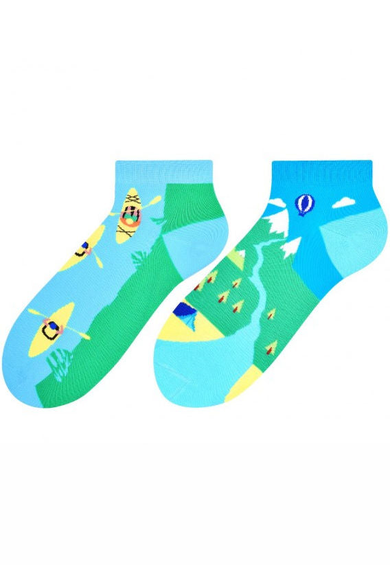 Mountain Trip Odd Patterned Low Cut Socks by More in turquoise blue and green