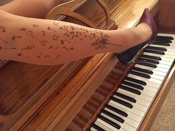 Musical Dandelion Tattoo Printed Sheer Tights/Pantyhose