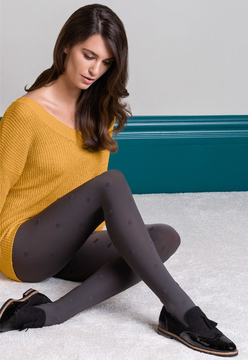Nelly Textured Polka Dots Patterned Opaque Tights by Gabriella