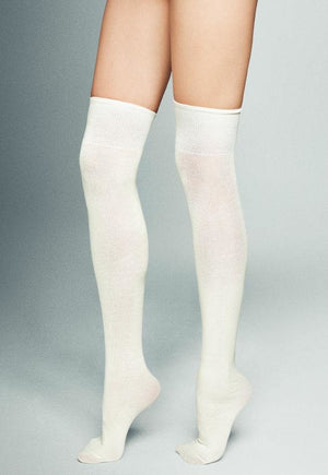 Nina Smooth Knitted Cotton Over-Knee Socks by Veneziana in panna white cream
