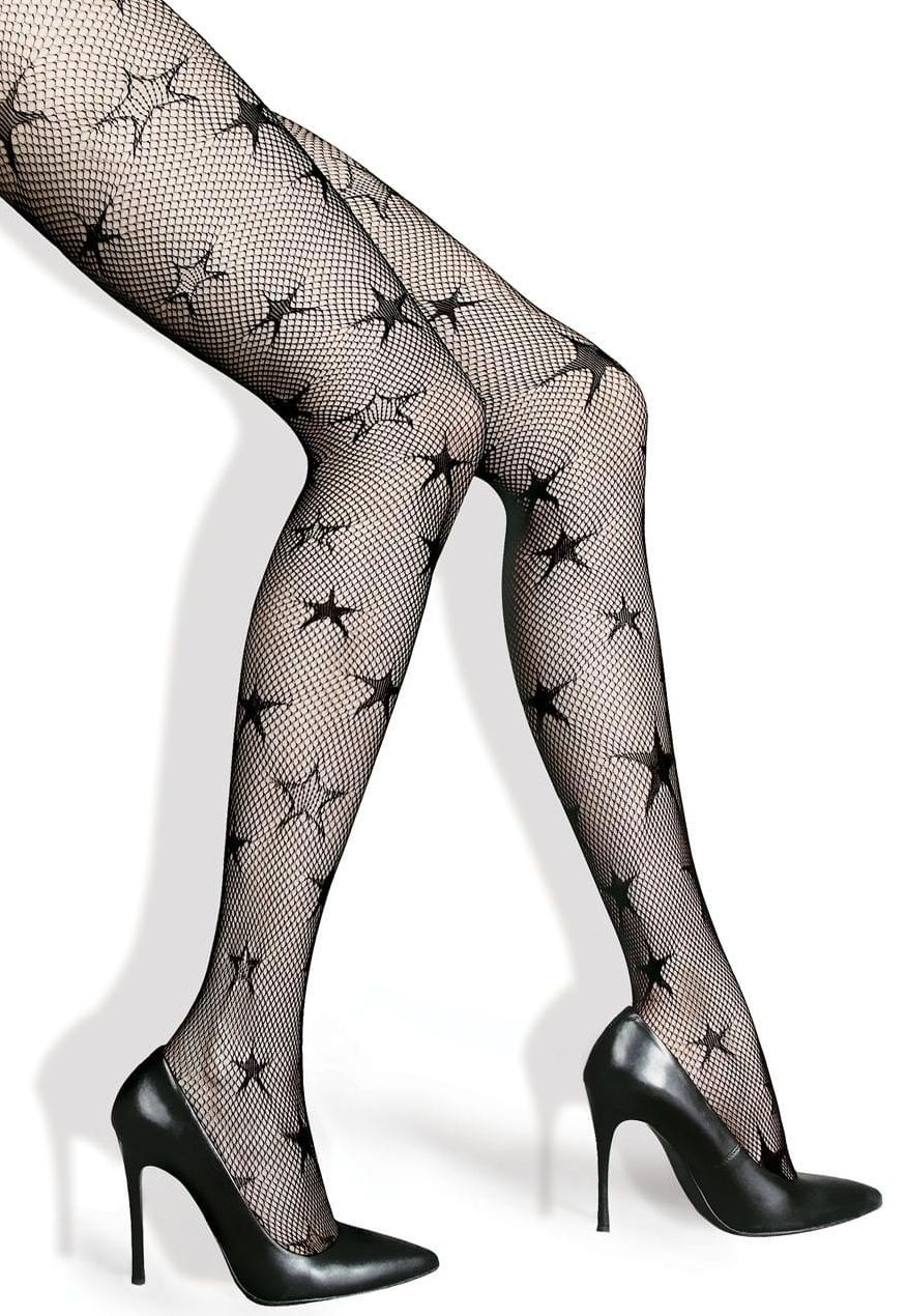 Notte Star Patterned Fishnet Tights by Lores
