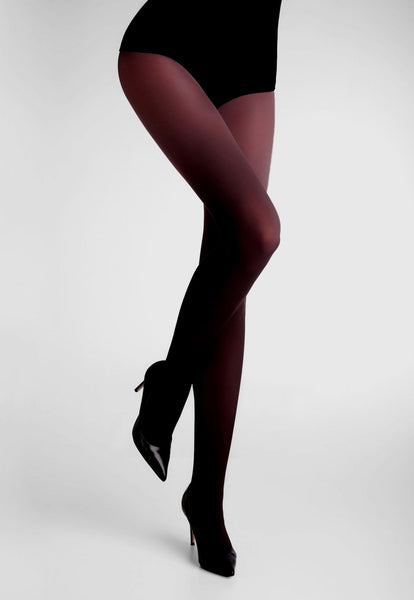 Ombre Coloured Opaque Tights by Marilyn Black to Burgundy Red