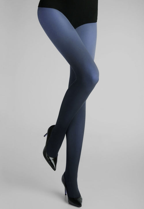 Ombre Coloured Opaque Tights by Marilyn Navy to Blue