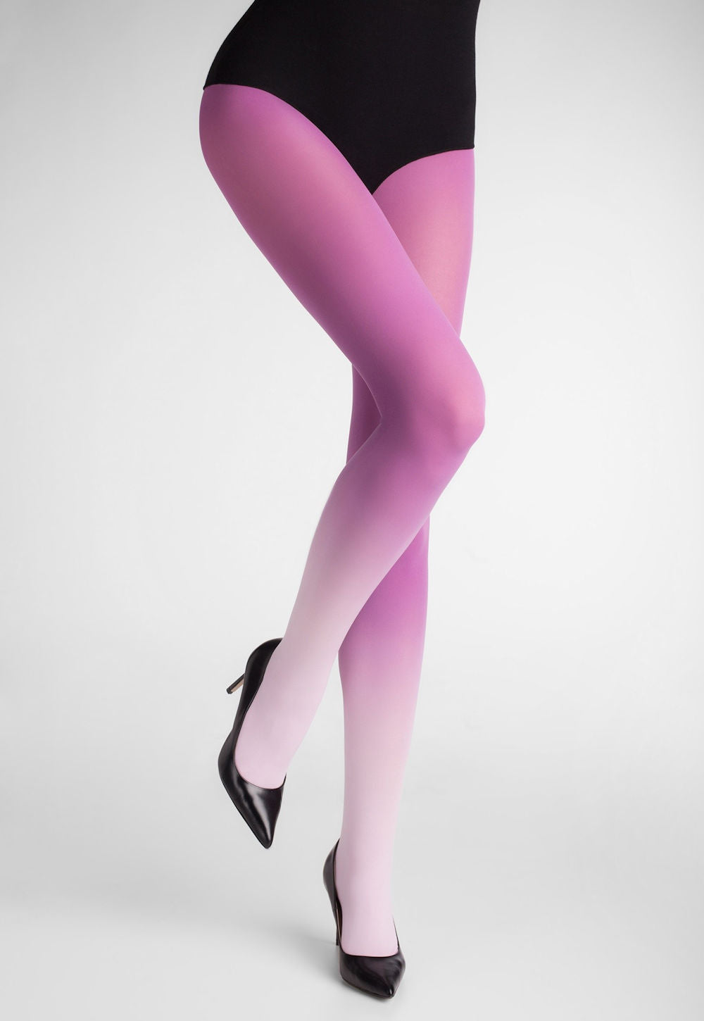 Ombre Coloured Opaque Tights by Marilyn Pink to Lilac