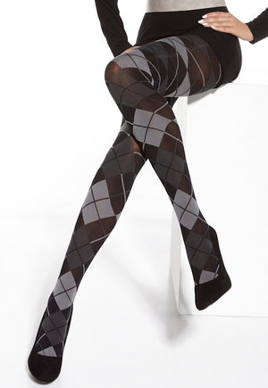 Oreada Argyle Patterned Fashion Tights by Adrian