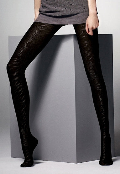 Oriana Black Snake Animal Printed Tights by Veneziana
