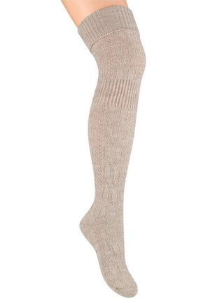 Wool Chunky Knitted Over-Knee Socks by Steven in light beige marl