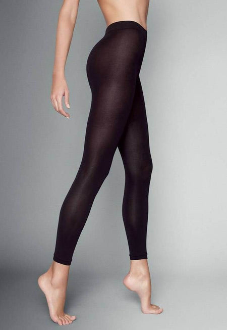 Black Leggings with Leather Look Inserts & Knee Panels