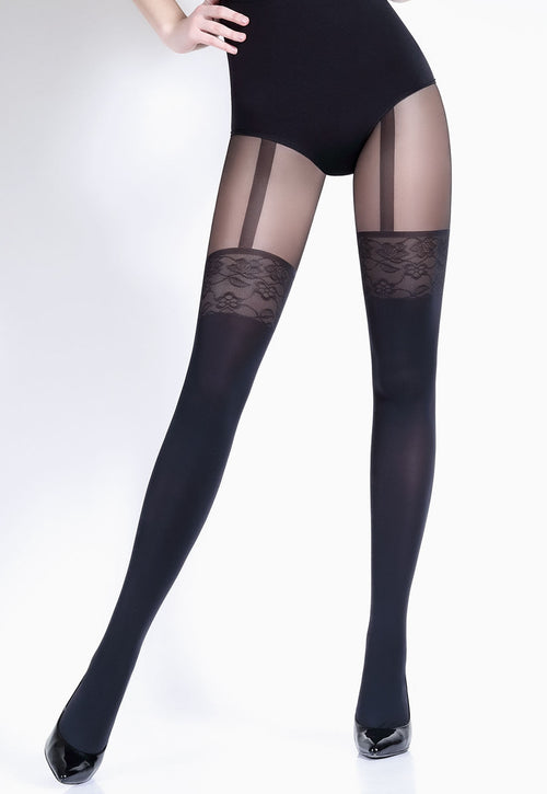 Pari 26 Mock Suspender & Lace Welt Black Tights