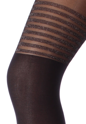 Pari 02 Lurex Stripes Mock Hold-Up Tights by Giulia
