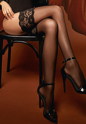 Passion 20 Denier Sheer Hold-Ups by Giulia in black