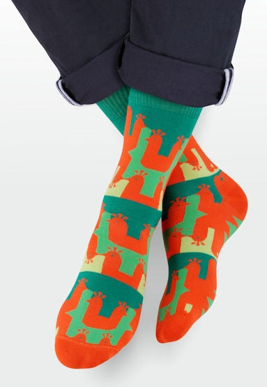 Peacock Patterned Socks in Green & Orange by More