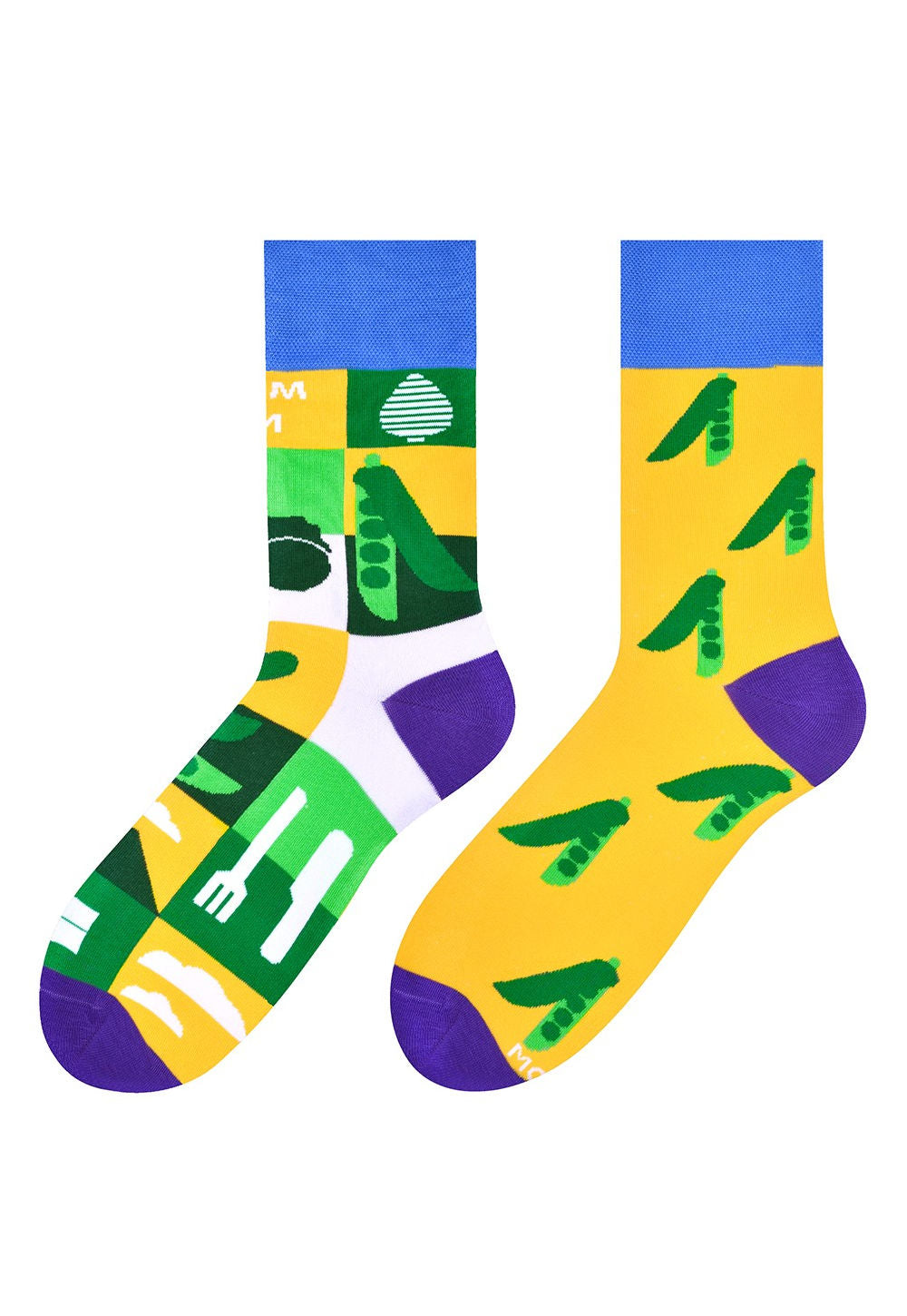 Peas & Farm Odd Patterned Socks in Yellow by More