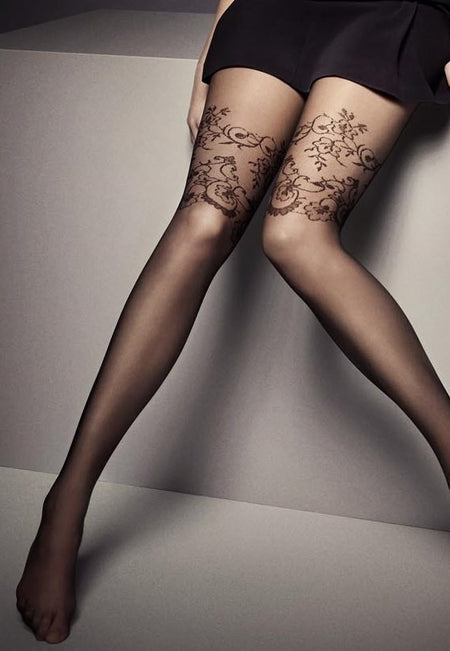 Jackie & Rhinestones Mock Hold-Up Tights by Adrian
