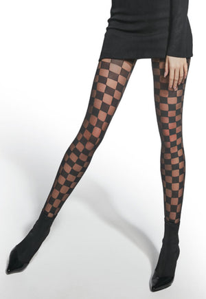 Phoebe Chessboard Patterned Fashion Tights by Adrian in black