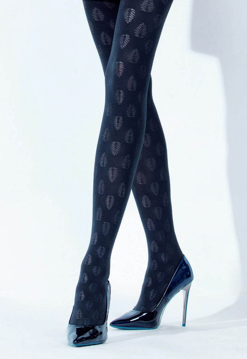 Black opaque tights with pink star pattern