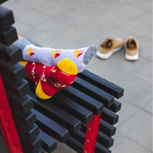 Pizza Slices Patterned Socks in Red by More