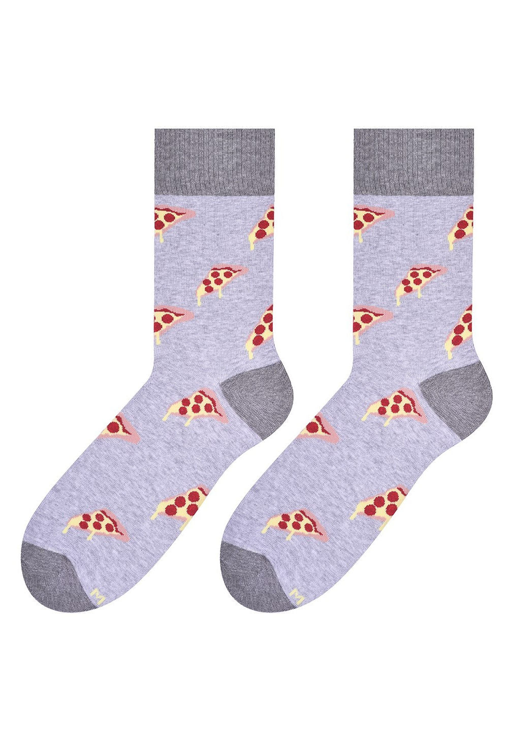 Pizza Slices Patterned Socks in Grey by More in light grey marl