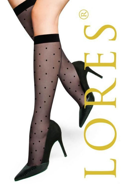 Polka Dot Patterned Sheer Knee-High Socks by Lores
