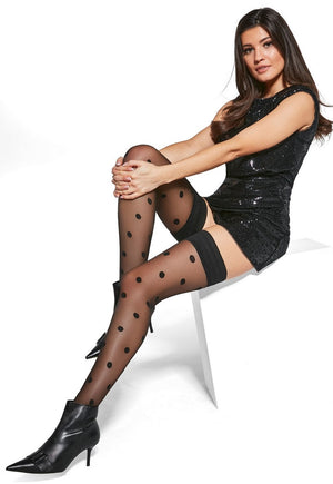 Polka Dot Patterned Sheer Hold-Ups by Adrian in black
