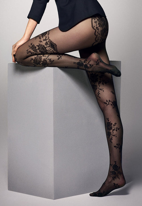 a5b18ee297e Priscilla Floral Lace Suspender Black Sheer Tights