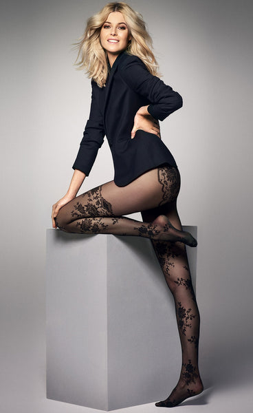 Priscilla Floral Lace Suspender Black Sheer Tights