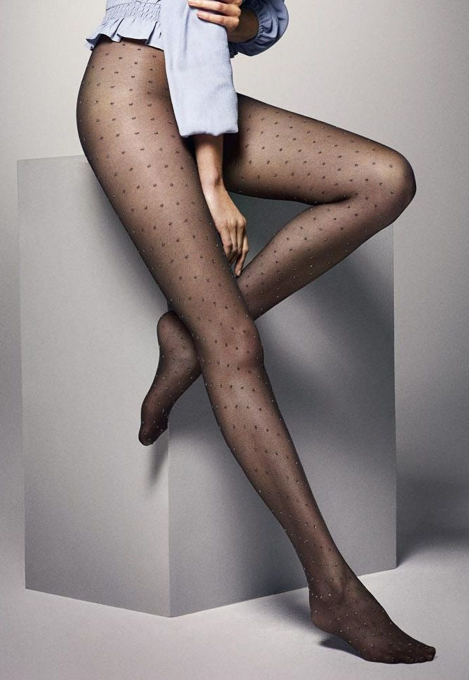 Puntini Pois Lurex Polka Dot Tights by Veneziana