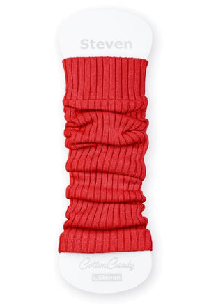 Ribbed Cotton Kids' Leg Warmers by Steven in red