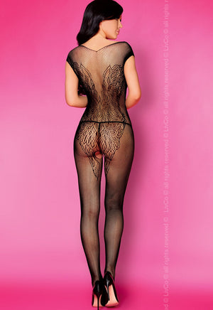 Renza Angel Wings Fishnet Black Bodystocking by LivCo