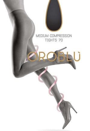 Repos 70 Den 10-15mmHg Compression Support Tights by Oroblu in nude tan