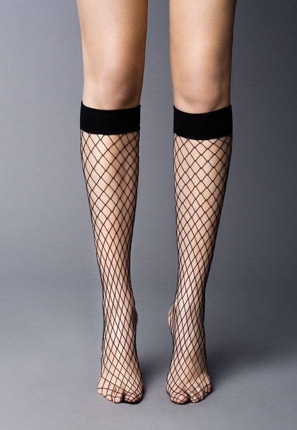 Rete Grandi Wide Fishnet Knee-Highs by Veneziana