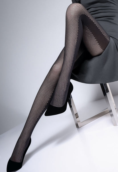 Fishnet & Opaque Side Panels Black Patterned Tights