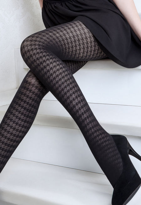 Rianna 4 Herringbone Patterned Opaque Tights by Giulia