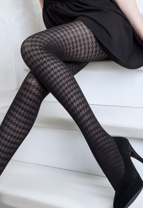Rianna 5 Houndstooth Patterned Opaque Tights by Giulia