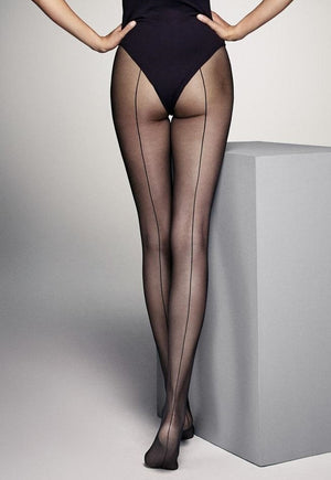 Riga Dietro Backseam Sheer Tights by Veneziana in black
