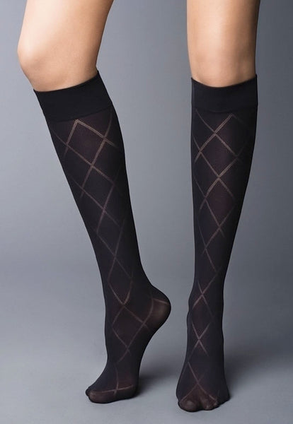 Diamond Patterned Opaque Knee-Highs by Veneziana