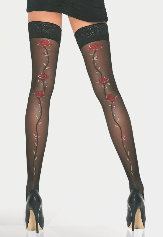 Rosette Rose Vine Patterned Sheer Hold-Ups by Adrian in black and red
