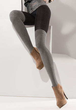 Roxy Ribbed Over-Knee Cotton Tights by Gabriella in black grey