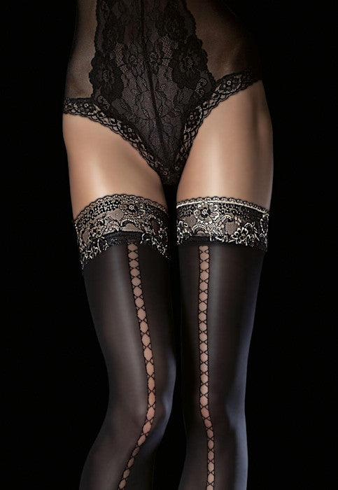 Sade 40 Denier Opaque Lace-Up Hold-Ups by Fiore