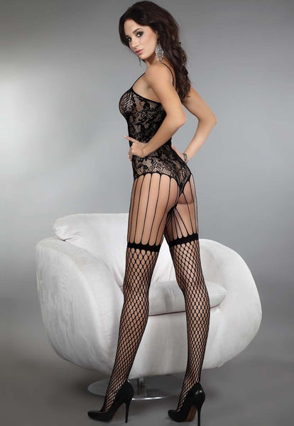 Saffron Floral Lace & Whale Fishnet Bodystocking by LivCo