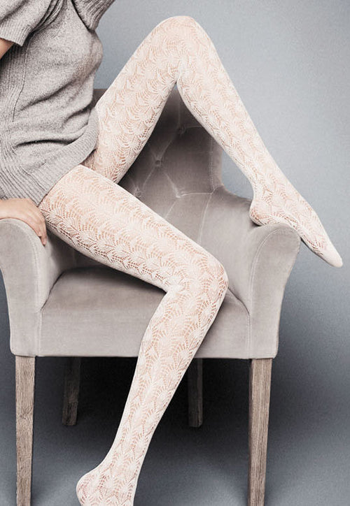 Sally Openwork Leaf Patterned Lace Tights by Veneziana in white cream