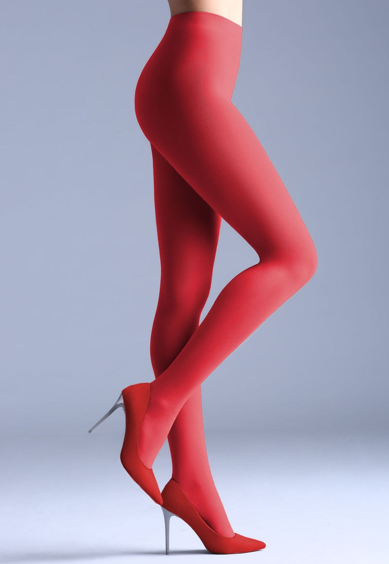Samba 40 Den Opaque Coloured Tights by Giulia in aurora red
